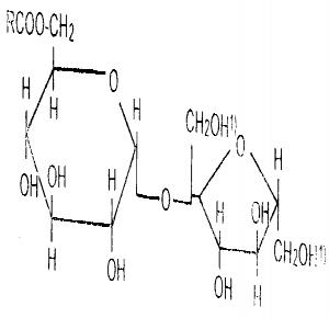 产品结构分子式 注:1)为能与脂肪酸结合生成二酯或三酯时的